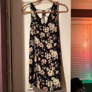 Black floral printed dress with lace up back